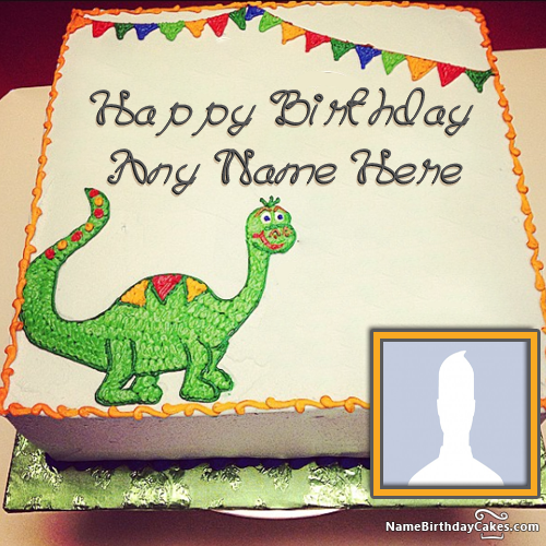 Dinosaur Birthday Cake With Your Kids Name And Photo