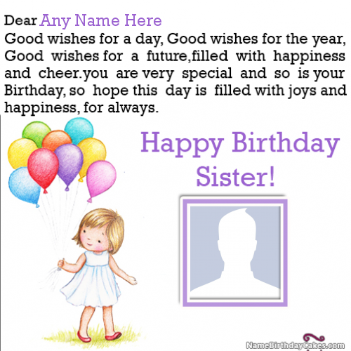 Birthday Wishes For Sister With Name And Photo