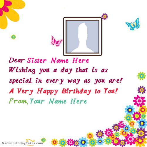 Send Online Birthday Wishes To Sister With Name