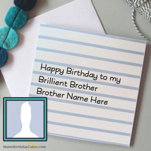 Simple Birthday Card With Name Editing For Brother