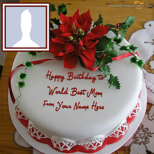 Fine Happy Birthday Mom Cake With Photo And Name Personalised Birthday Cards Veneteletsinfo