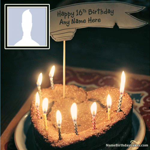 Write Name On Happy 16th Birthday Cake With Photo