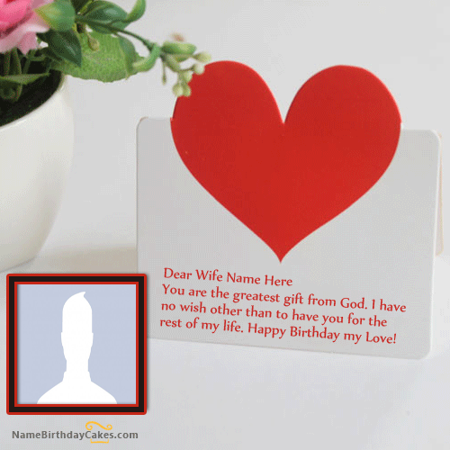Romantic Birthday Card For Wife With Name