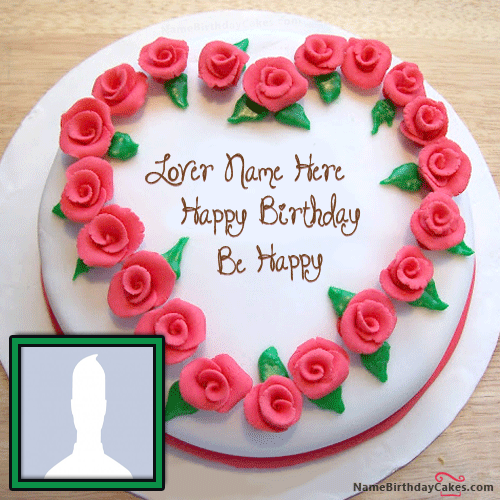 Roses Heart Name Cake With Photo