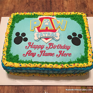 Paw Patrol Birthday Cake For Kids With Name