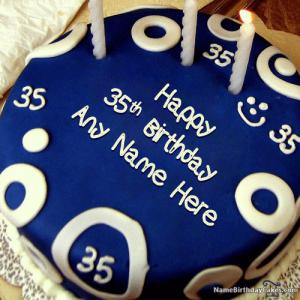 Happy 35th Birthday Cake With Name and Photo