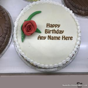 Romantic Birthday Cake With Name For Husband