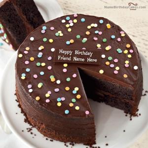 Chocolate Birthday Cake With Name Editing Application