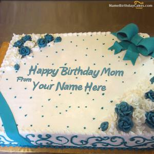 Happy Birthday Cake For Mom With Photo and Name