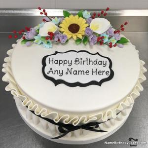Romantic Birthday Cake For Girlfriend With Name And Photo