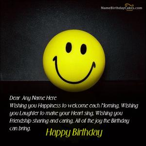 Smiley Birthday Wish With Name