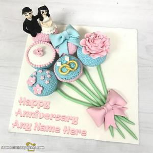 Special Happy Anniversary Cake With Photo And Name
