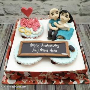 Write Name On Anniversary Cake With Photo